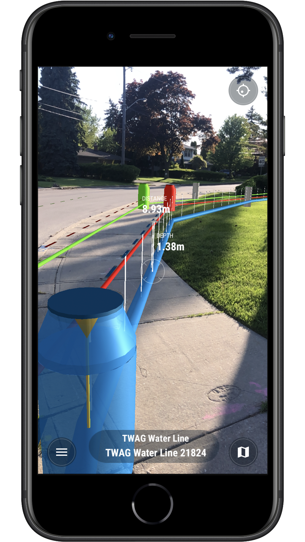 vGIS screenshot: augmented reality for utility infrastructure with Arrow GNSS